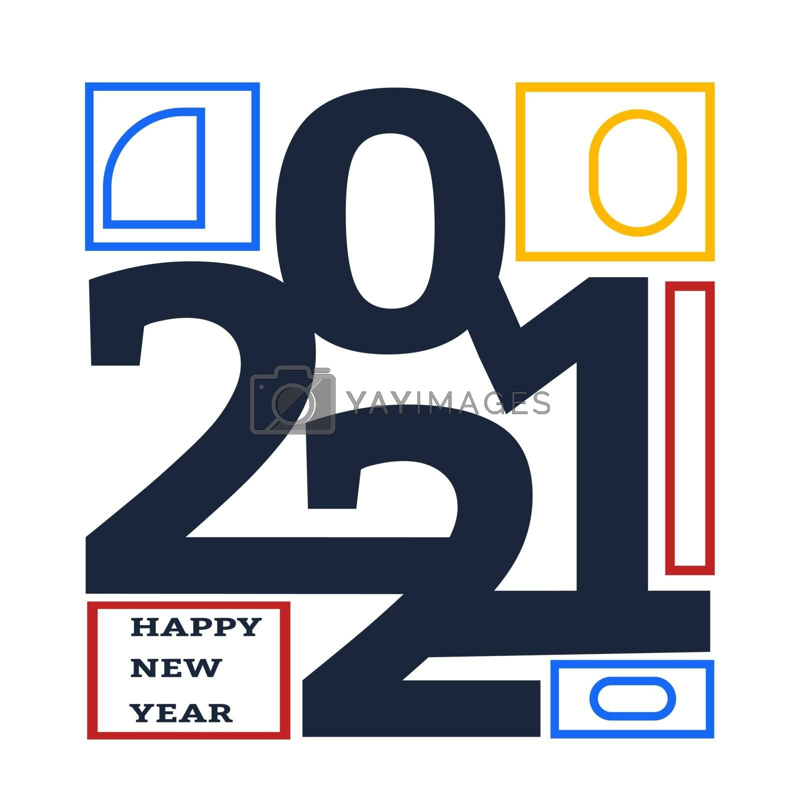 Happy new year 2021 design template. Design for calendar, greeting cards or print