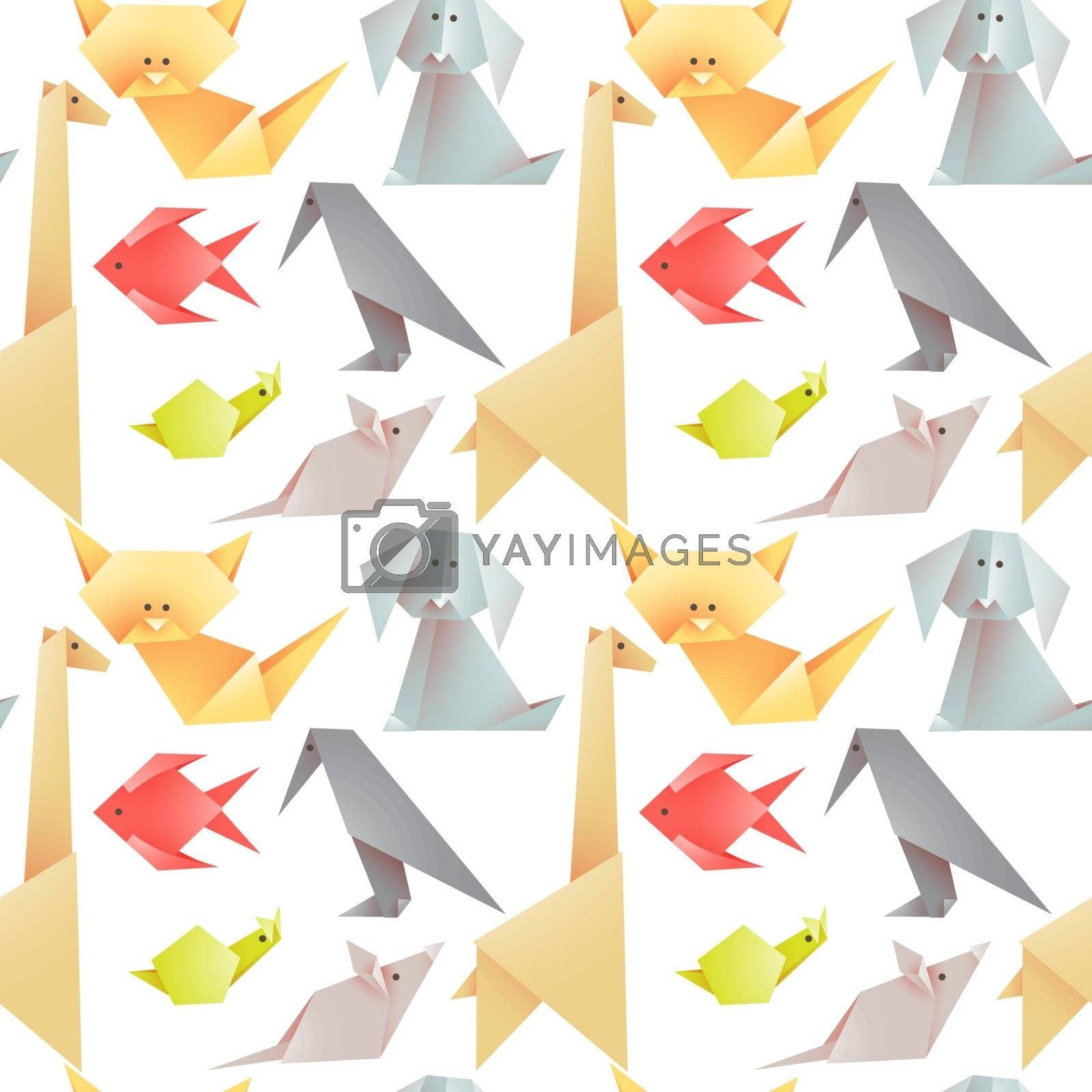 Set of origami animals - figures folded from colored paper. Vector seamless pattern on a white background