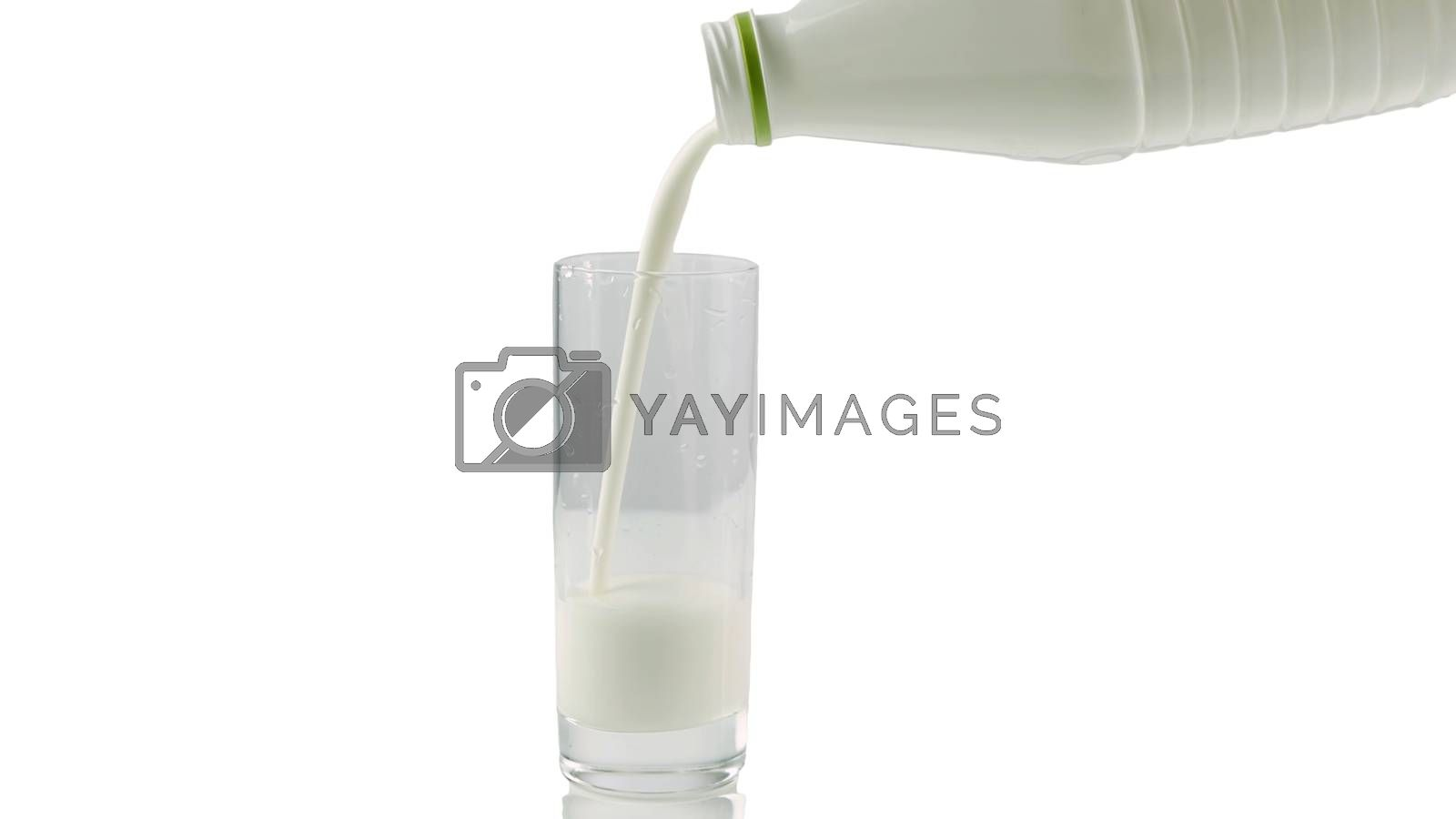 Royalty free image of Pouring milk yogurt into a glass isolated on white,close-up. by Andriii_Klapkoo