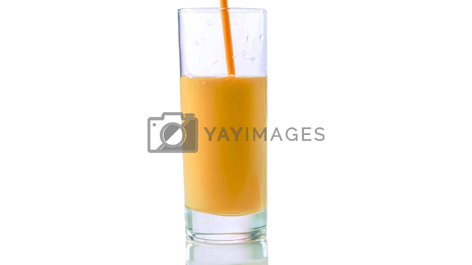 Royalty free image of Pouring peach yogurt into a glass isolated on white,close-up. by Andriii_Klapkoo