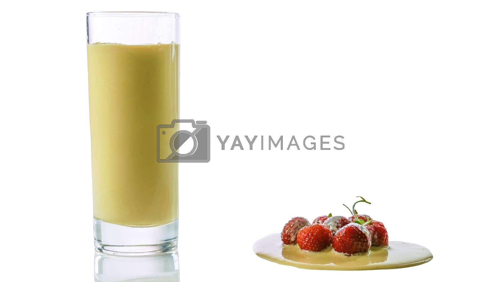 Royalty free image of Strawberry yogurt in a glass with fresh strawberries isolated on white,close-up. by Andriii_Klapkoo