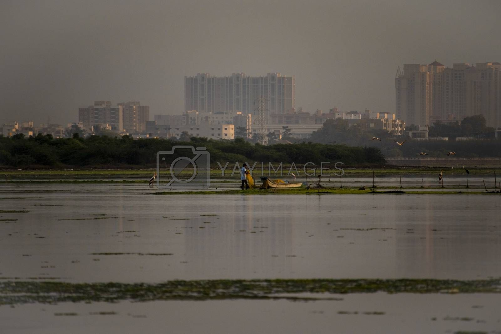 Chennai, Tamil nadu - India . September 5, 2020. Beautiful landscape view with morning nature bustle