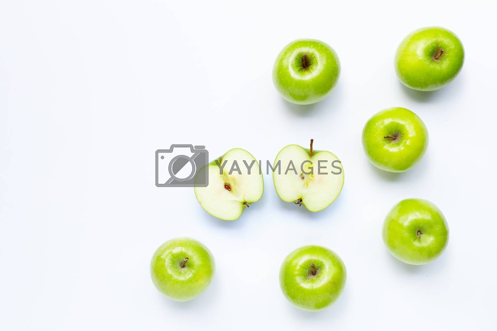 Fresh green apples on  white background. Copy space