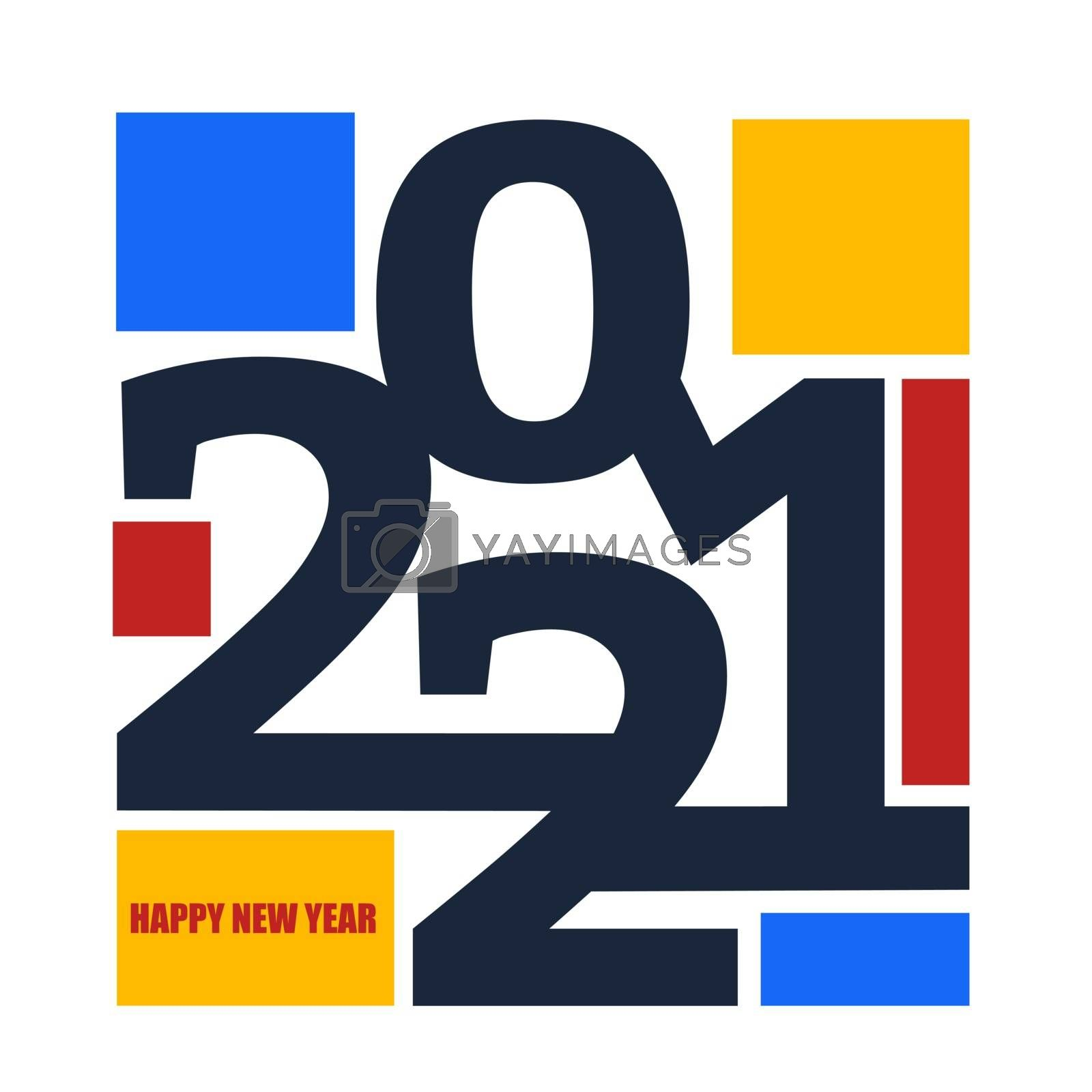 Colored 2021 Happy New Year. Elegant design of colorful 2021 logo numbers. Perfect typography for design and new year celebration invite. Christmas vector illustration. Isolated on white background