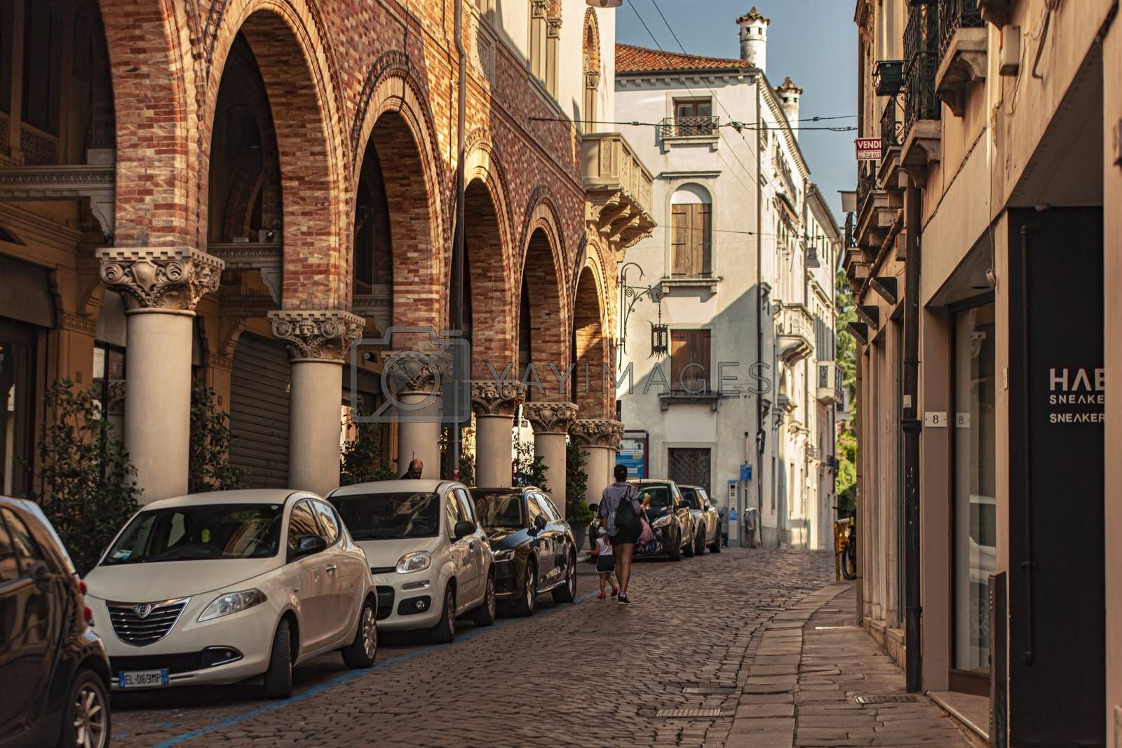 TREVISO, ITALY 13 AUGUST 2020: View of Calamaggiore one of the main street in Treviso in Italy