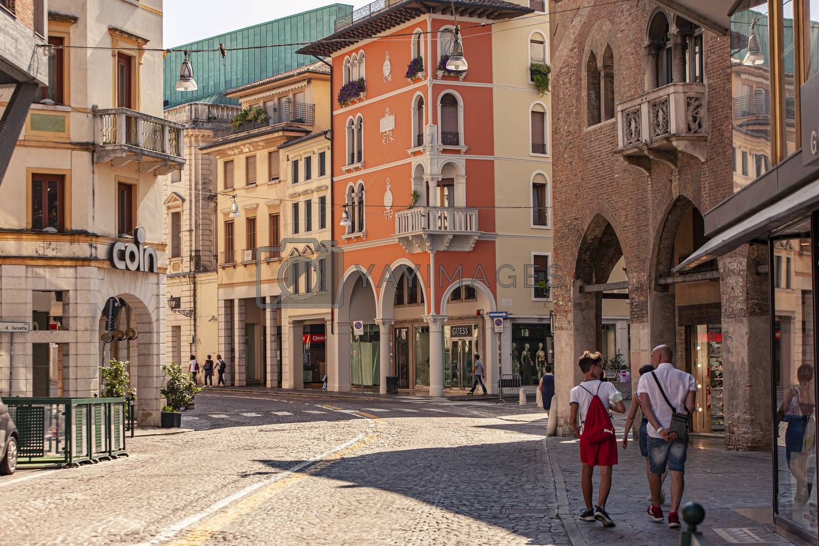 TREVISO, ITALY 13 AUGUST 2020: Landscape of buildings in Treviso in Italy