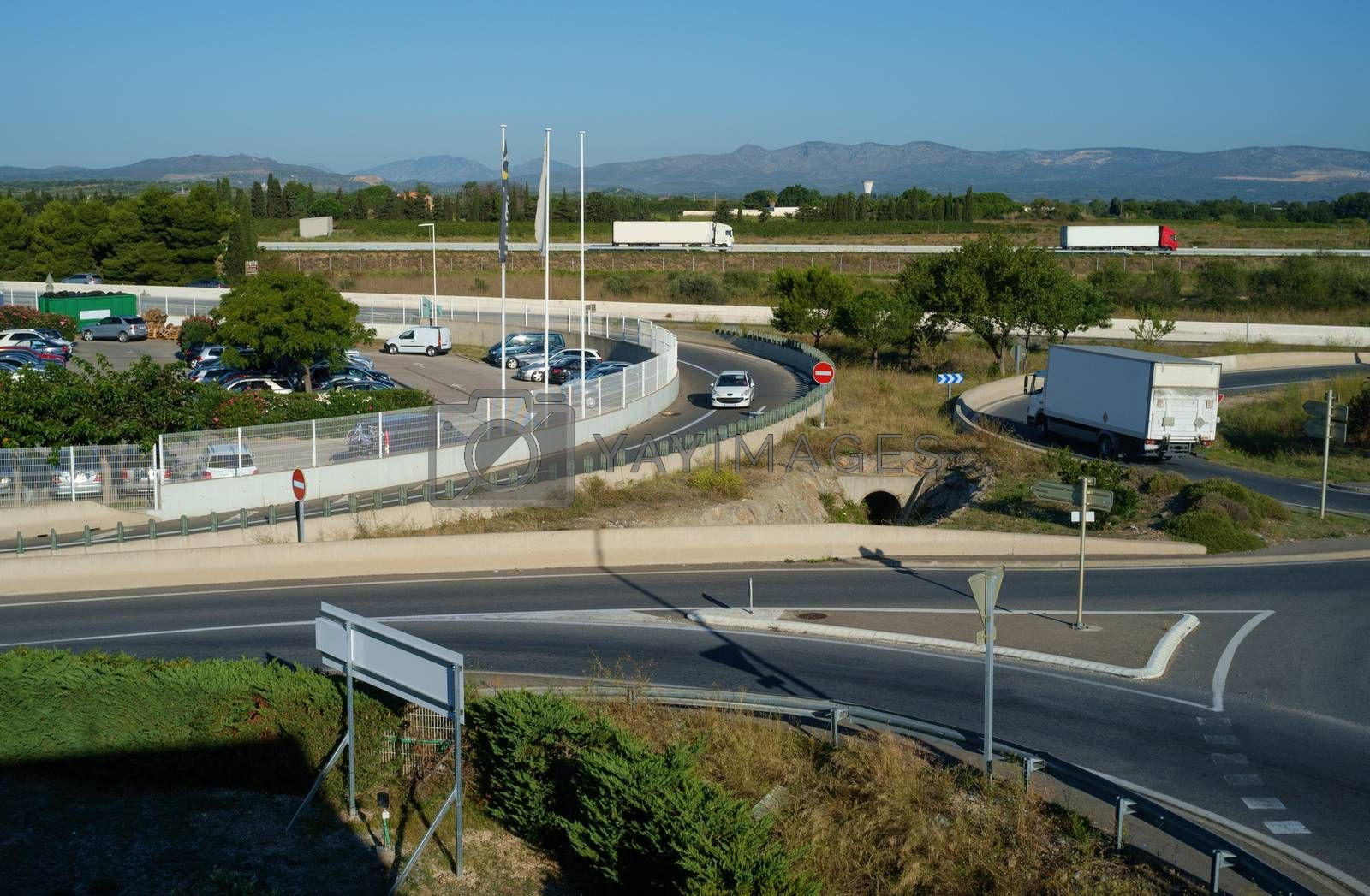 Cars at the road junction in the south of France.