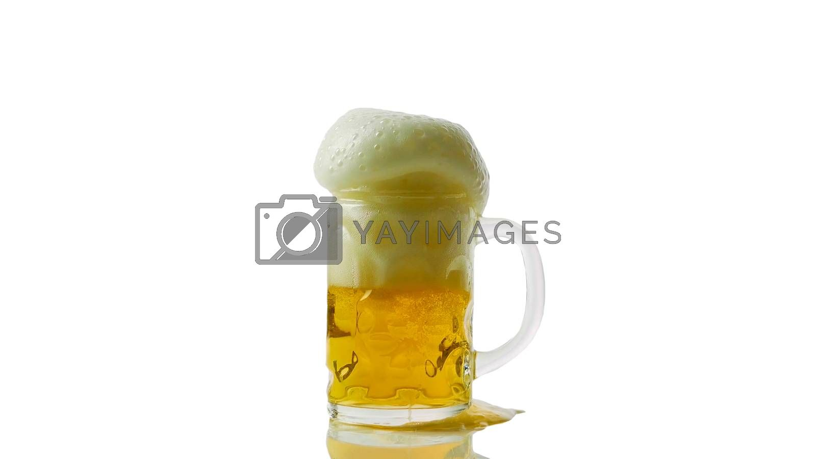 Royalty free image of Foamy beer in a glass isolated on white close-up,light beer fresh. by Andriii_Klapkoo