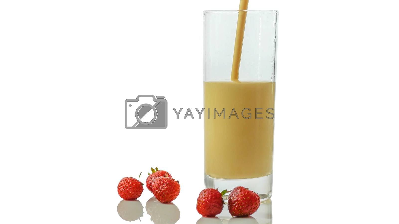 Royalty free image of Strawberry yogurt in a glass with fresh strawberries isolated on white,close-up,dairy product. by Andriii_Klapkoo
