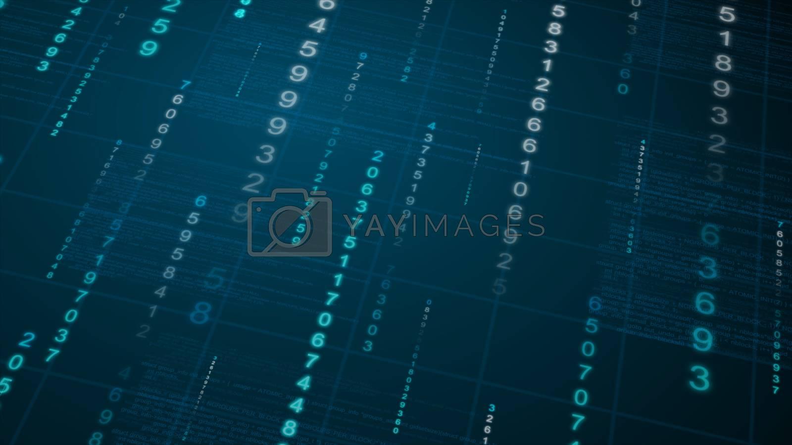Binary rain background. Digital Data on blueprint