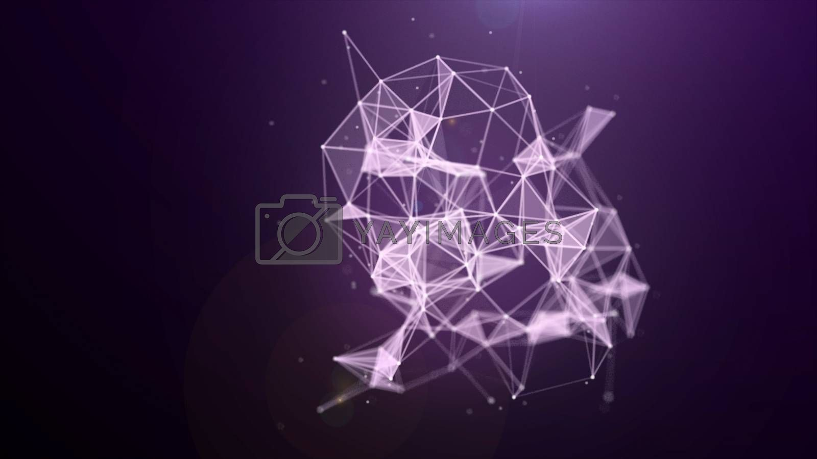 Plexus structure evolving in organic motion, science motion background