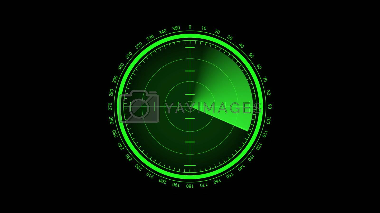Futuristic radar screen, searching target