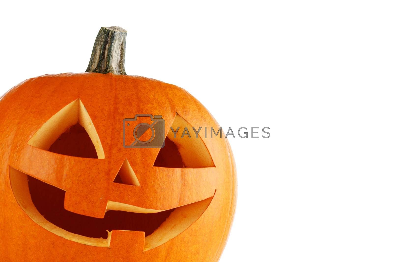 One angry Halloween Pumpkin isolated on white background