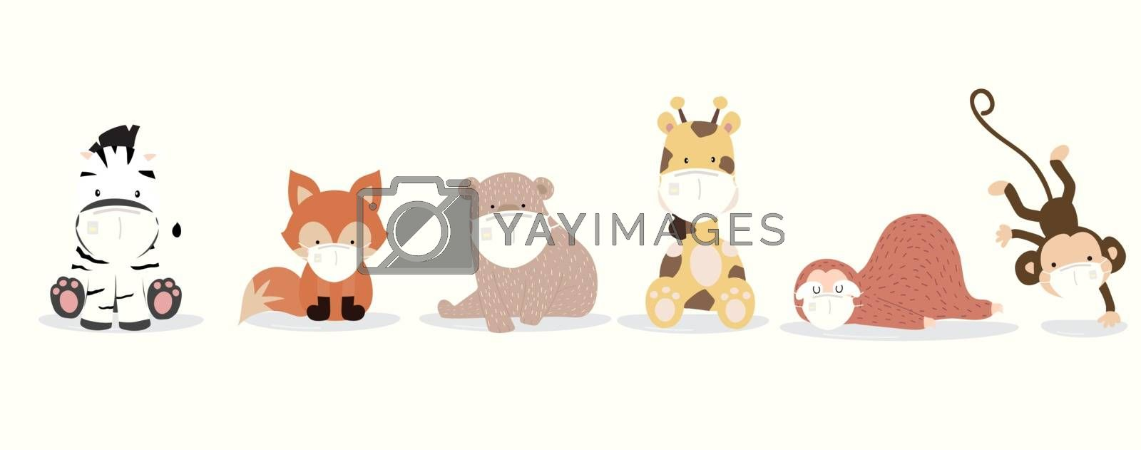 Cute animal object collection with  sloth,giraffe,fox,zebra,monkey,bear wear mask.Vector illustration for prevention the spread of bacteria,coronviruses