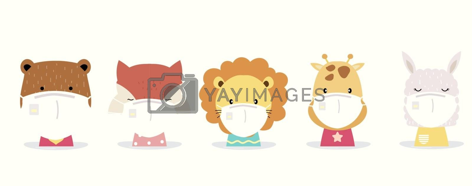 Cute animal object collection with lion,fox,llama,bear,giraffe wear mask.Vector illustration for prevention the spread of bacteria,coronviruses