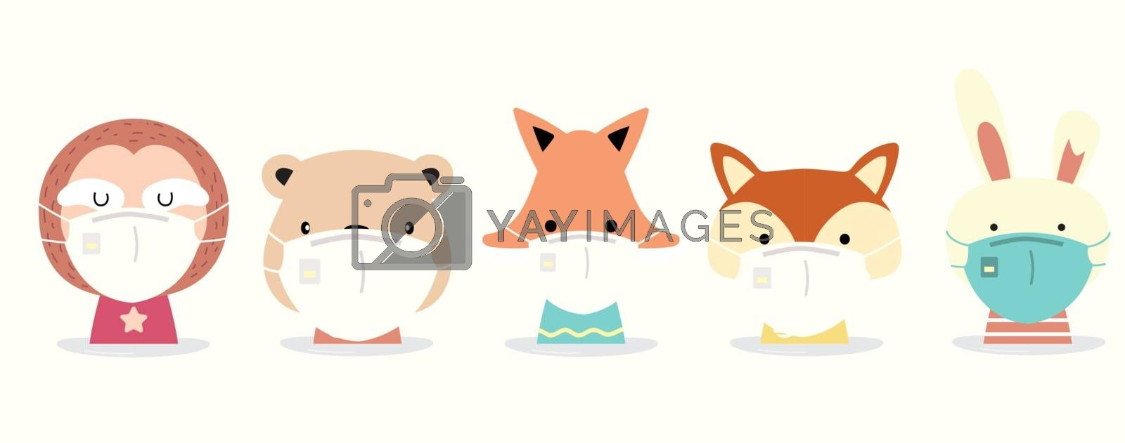 Cute animal object collection with  sloth,rabbit,fox,squirrel,bear wear mask.Vector illustration for prevention the spread of bacteria,coronviruses