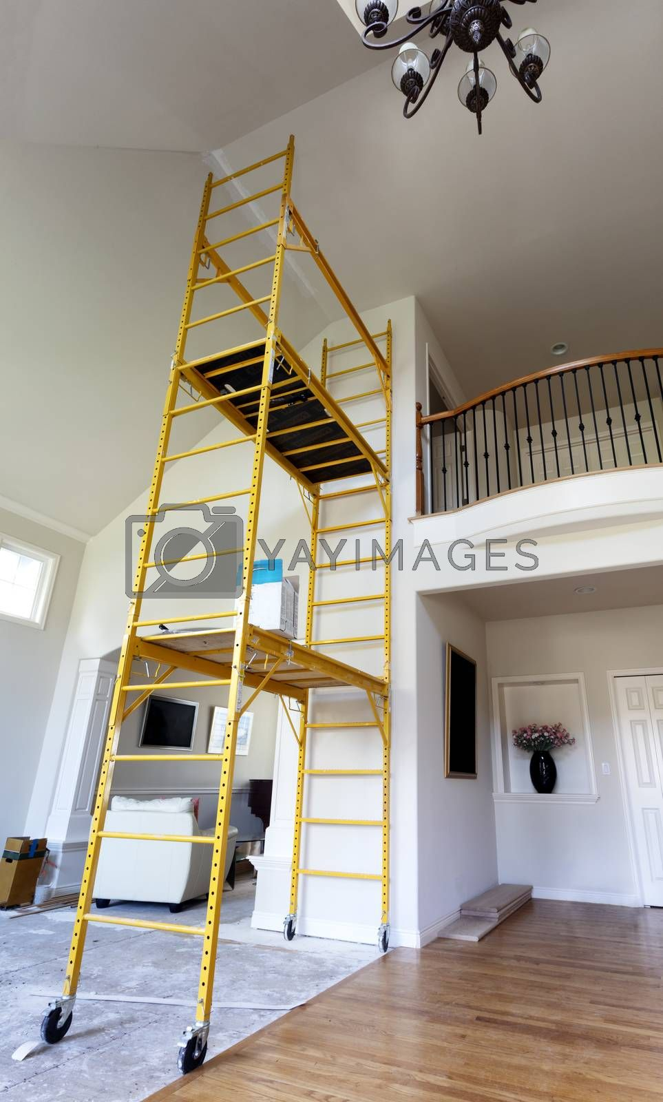 Scaffolding setup for repairing home ceiling and painting purposes
