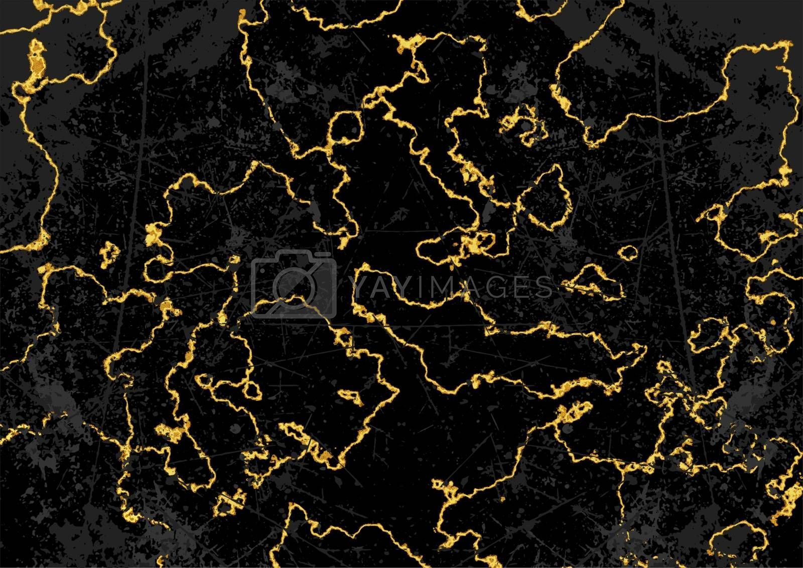 Black and Gold Marble Texture Background - Detailed Illustration with Surface Effect and Grunge Pattern, Vector Graphic