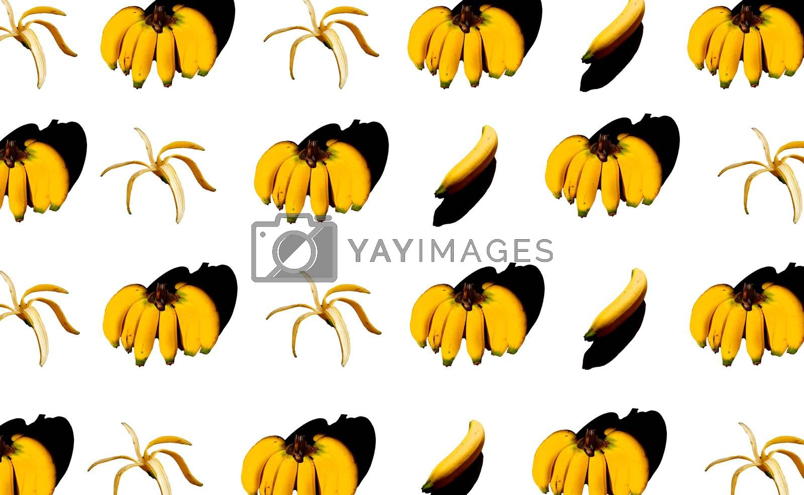 bananas in patterns with colorful background.