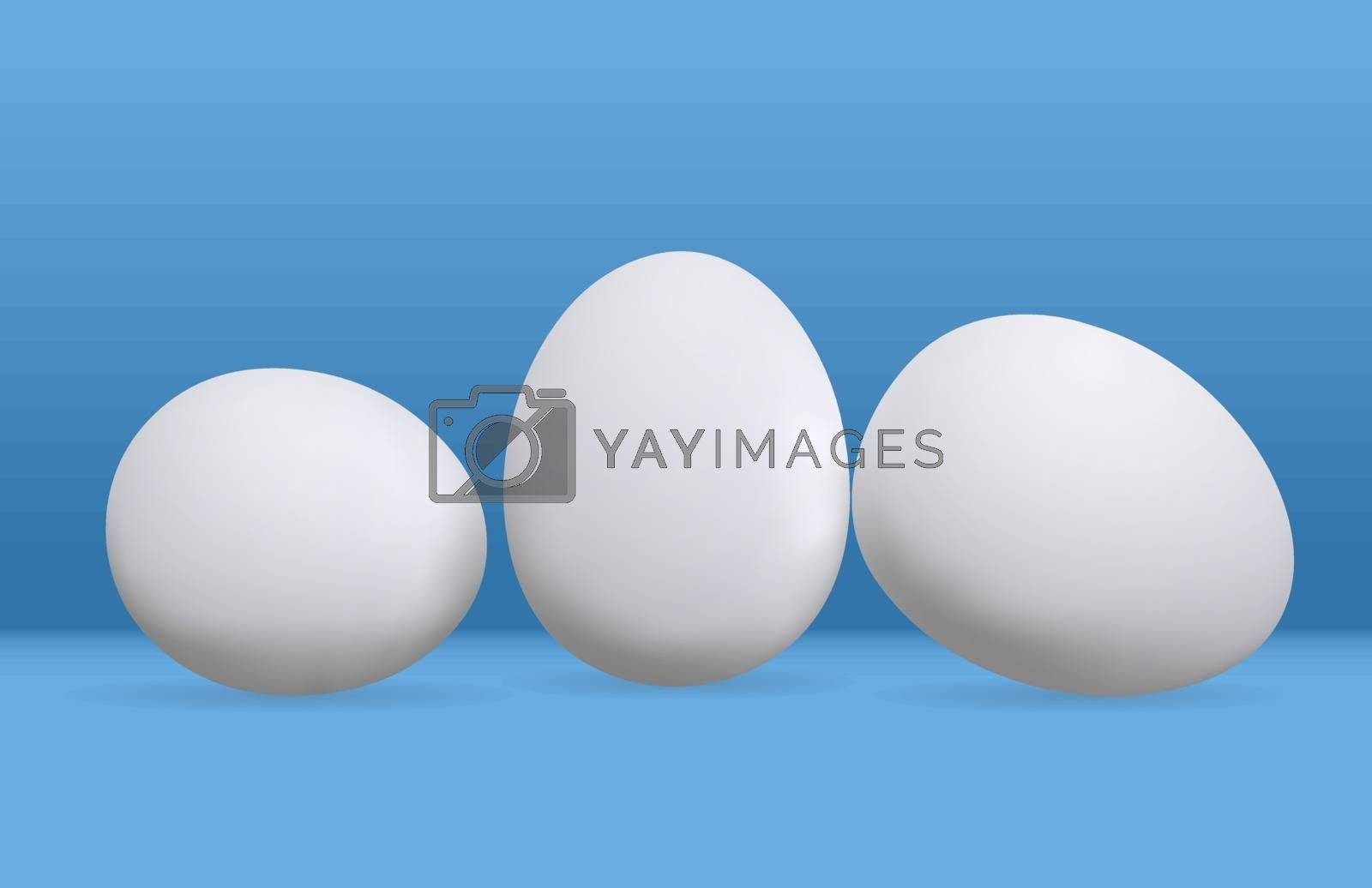 Three eggs vector illustration. White chicken eggs