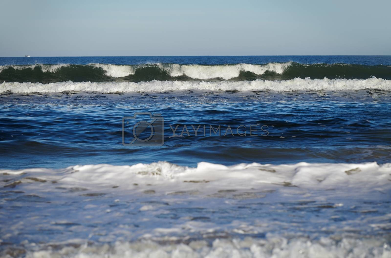 Rough water and waves in Atlantic Ocean. Florida, USA