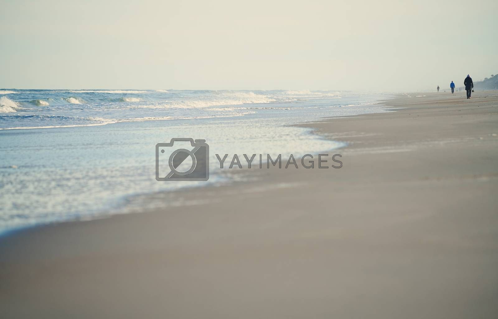 Incidental people walking along the beach of Atlantic Ocean. USA by Novic