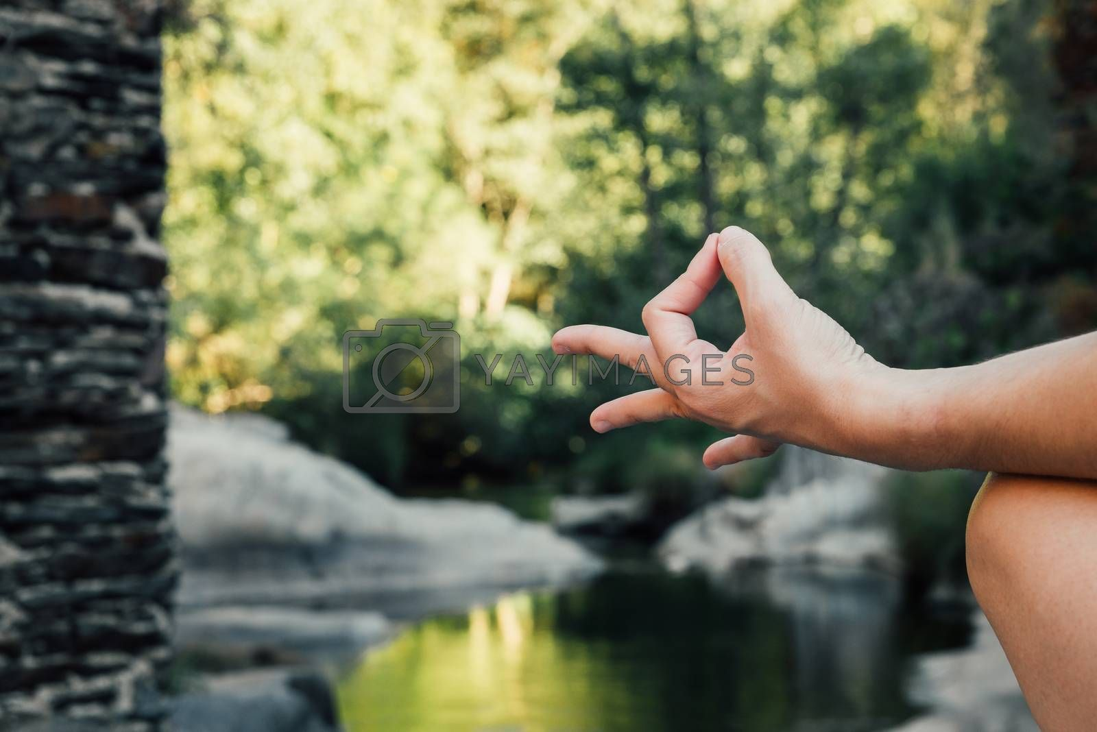 woman's hand doing a mudra in nature