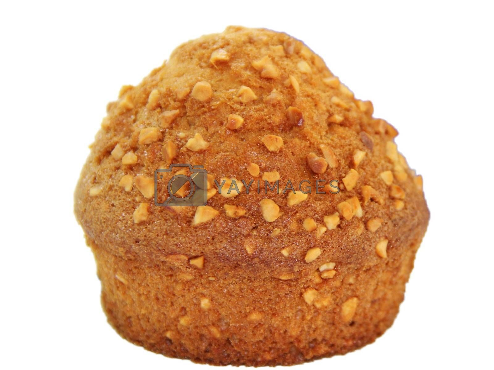 Royalty free image of Closeup of a muffin with nuts isolated on white background by balage941