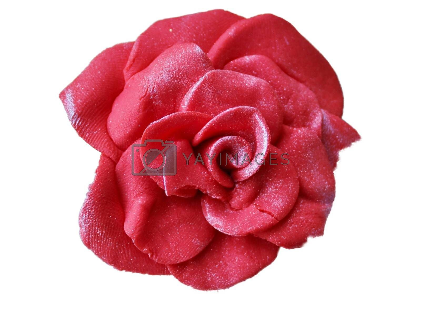 Royalty free image of Soft focus of a pink gum paste candy rose isolate on white background by balage941