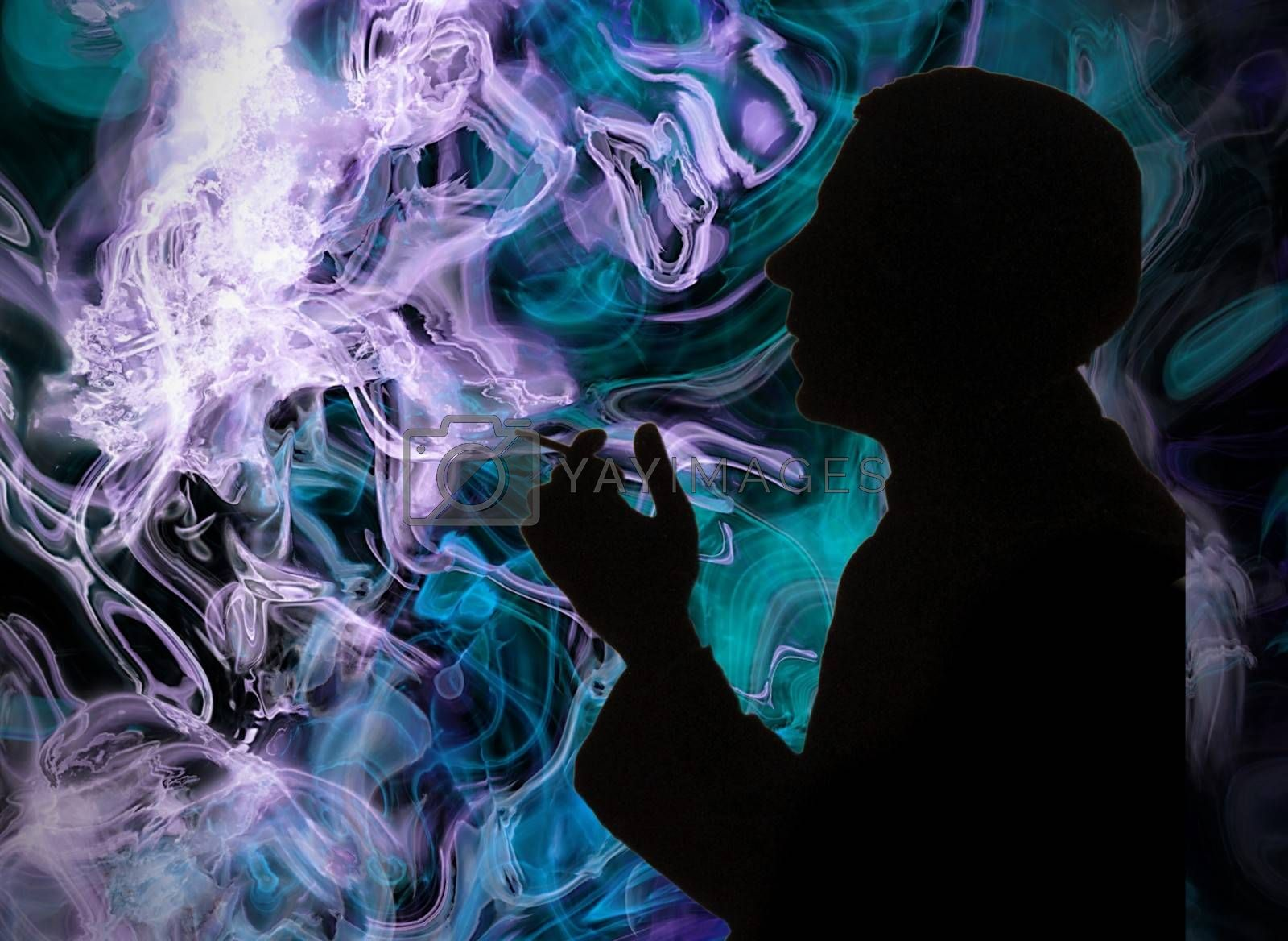 Royalty free image of Silhouette of a smoking man on the colorful smoke background - addiction to nicotine by balage941
