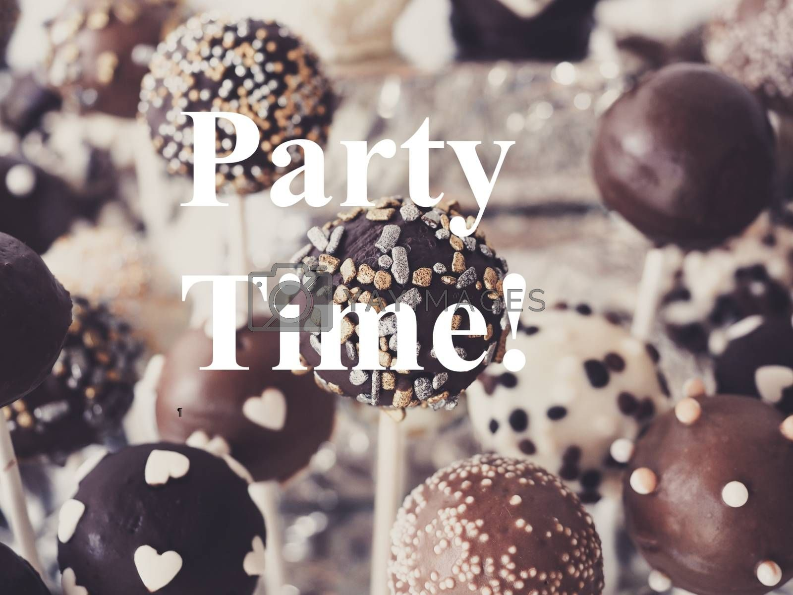 Royalty free image of Soft focus of delicious cake pops with PARTY TIME overlay text by balage941