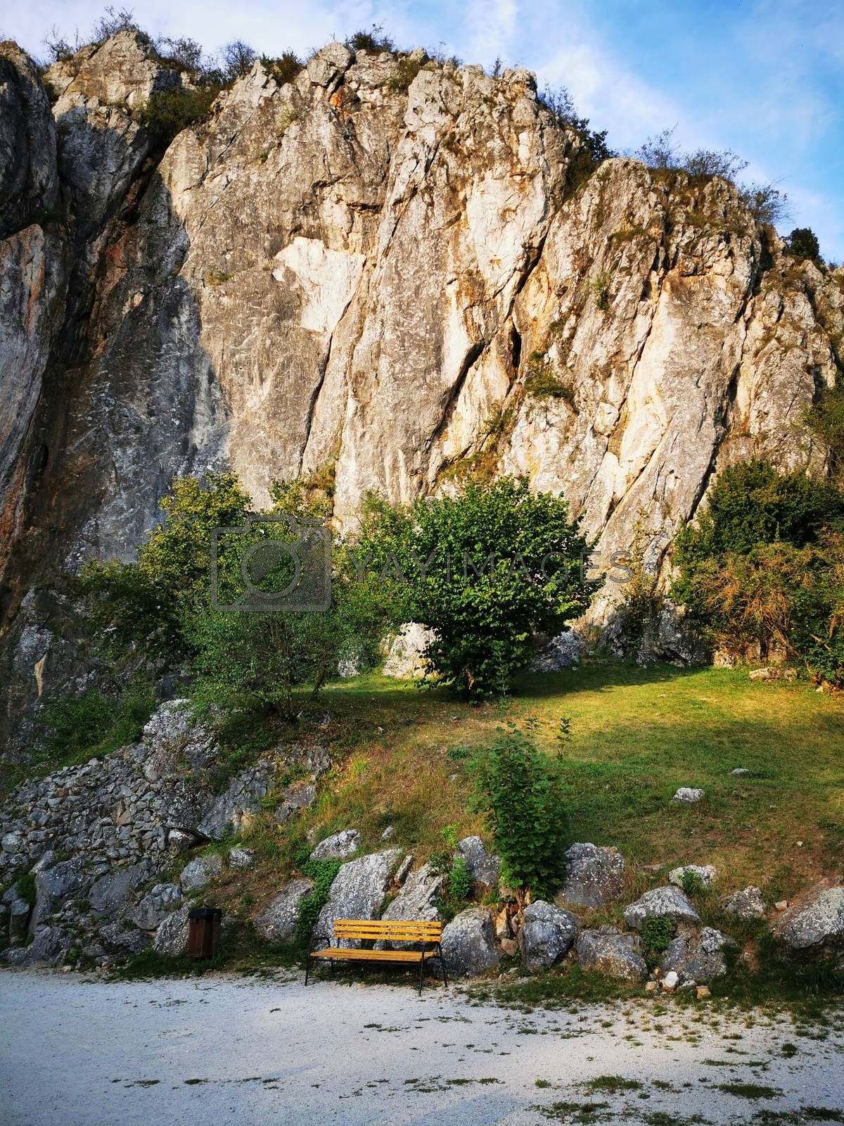 Royalty free image of A rocky island in the middle of a large rock by balage941