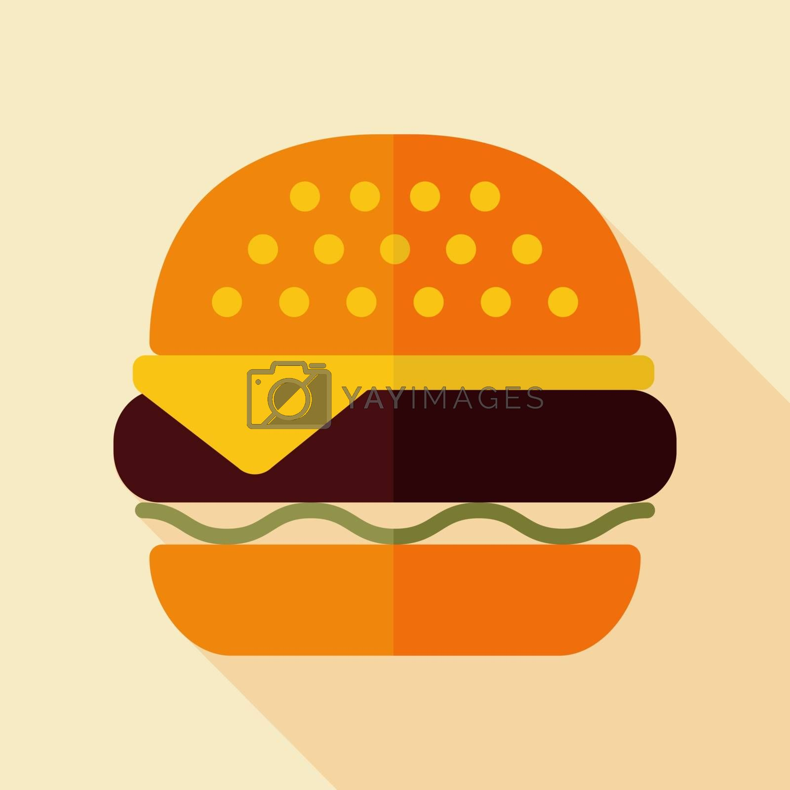Burger vector icon. Fast food sign by nosik