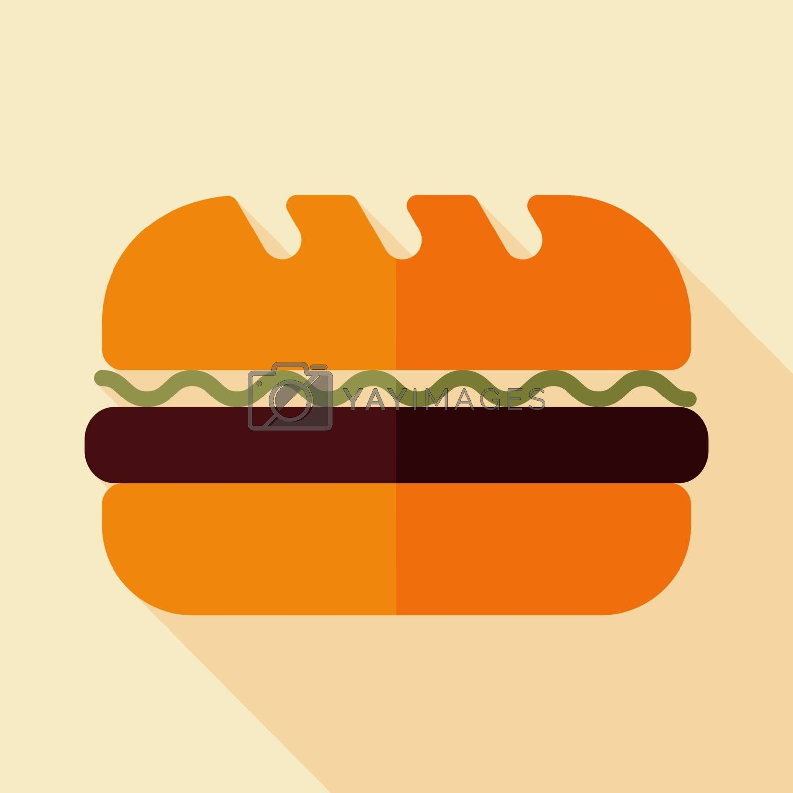 Subway Sandwich vector icon. Fast food sign. Graph symbol for cooking web site and apps design, logo, app, UI