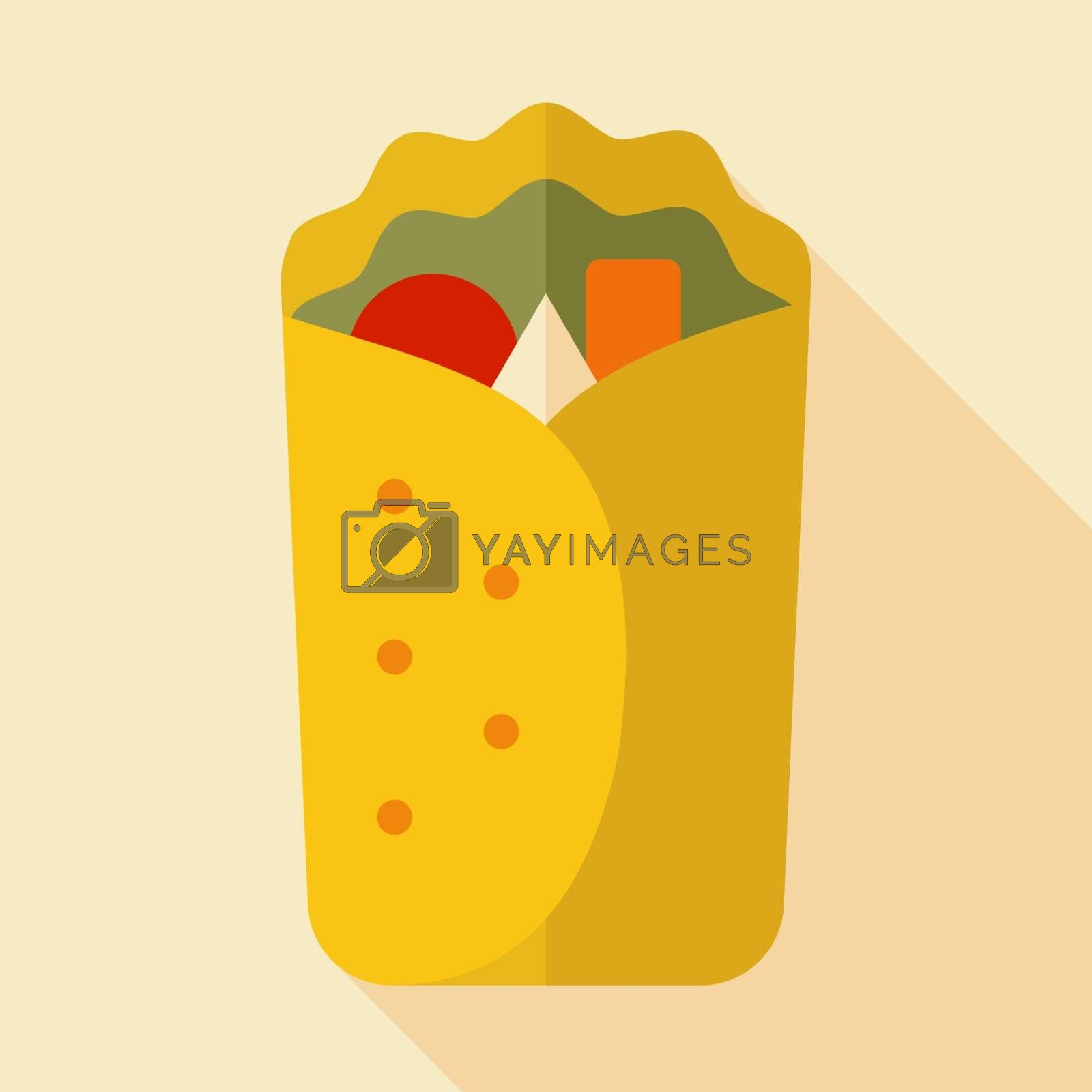 Burrito Wrap vector icon. Fast food sign by nosik