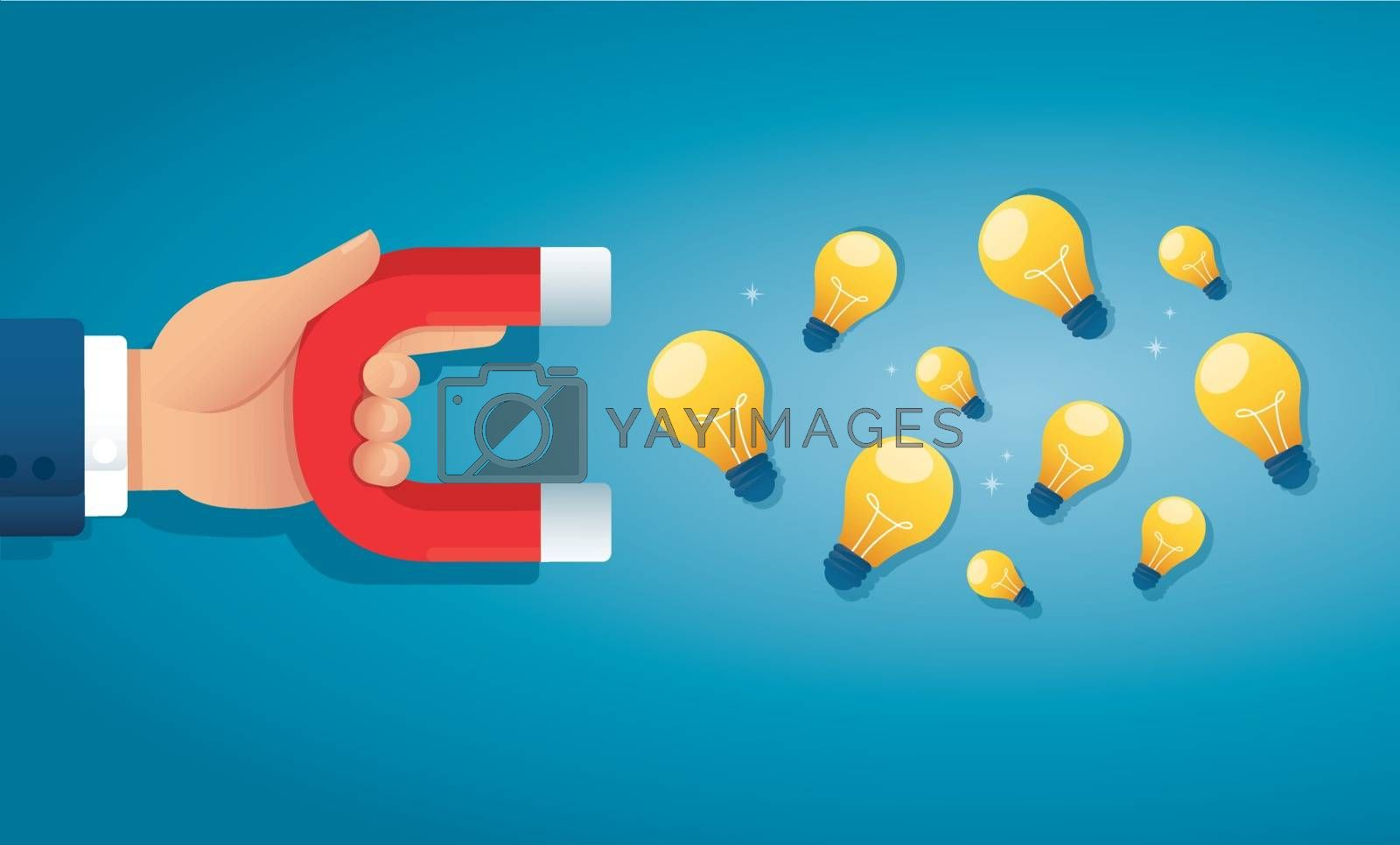 hand holding magnet attracting light bulb creative concept. vector illustration