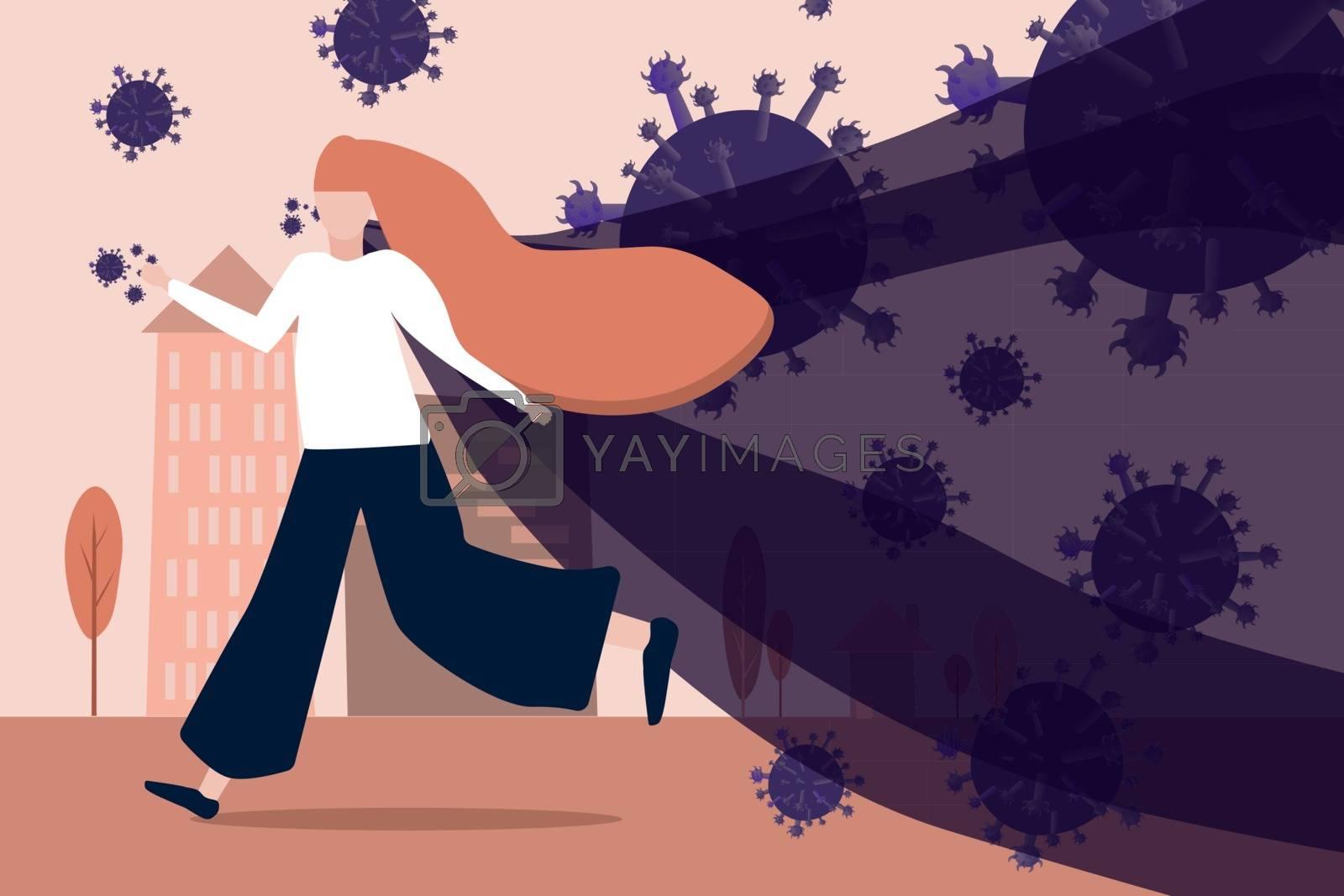 running girl from coronavirus in pastel color