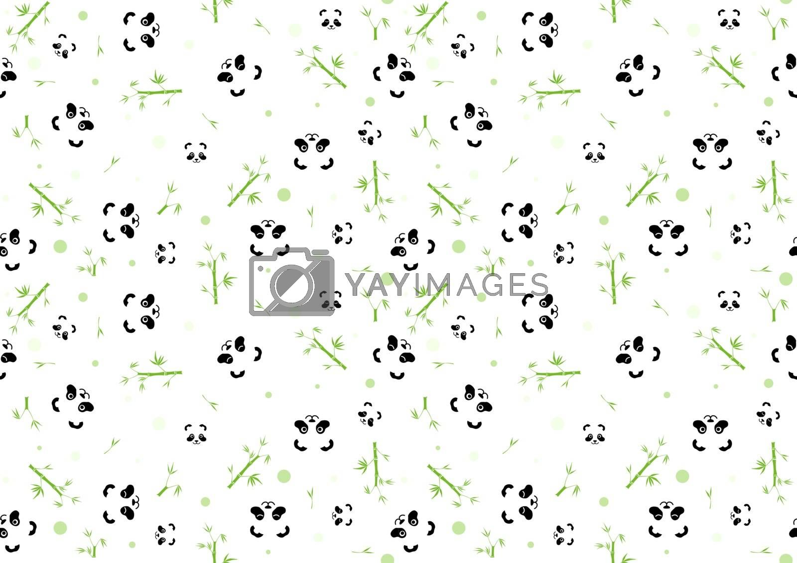 Seamless Baby Pattern with Panda Face and Green Bamboo Plants - Repetitive Print Texture Illustration, Vector