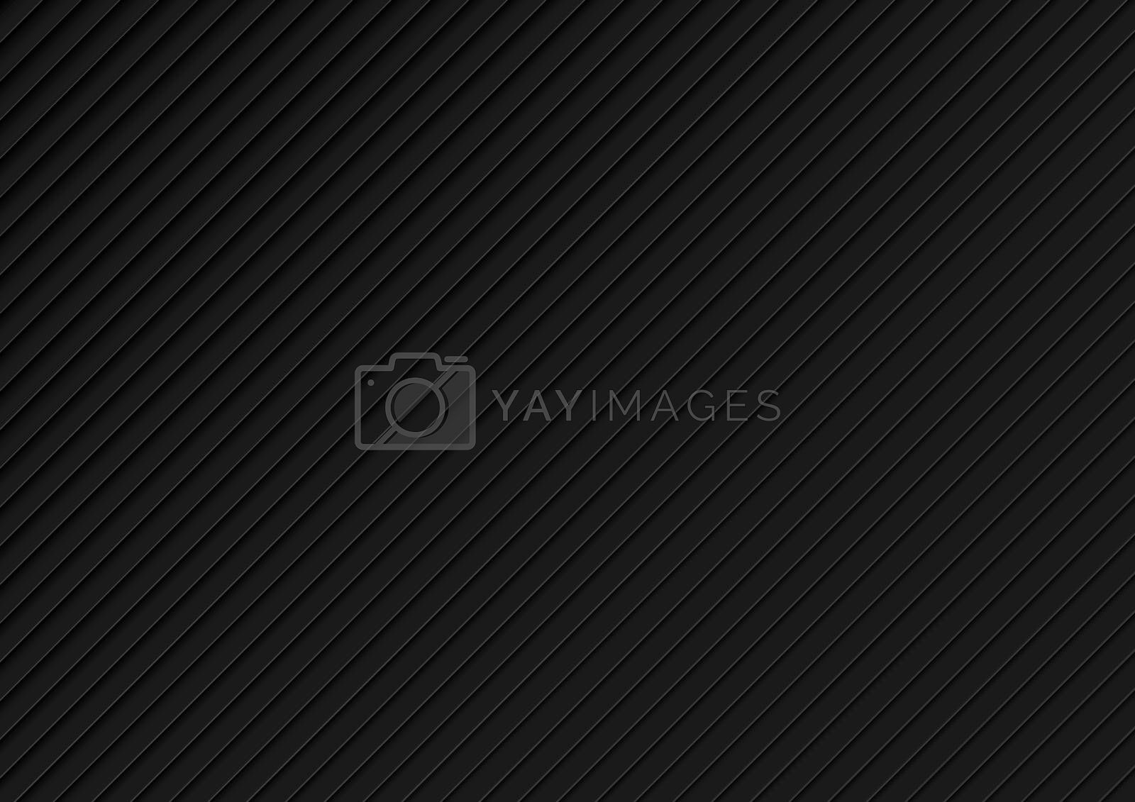 Black Background with Diagonal Layered Pattern - Texture with Three-dimensional Shadows and Gray Edges, Vector Illustration