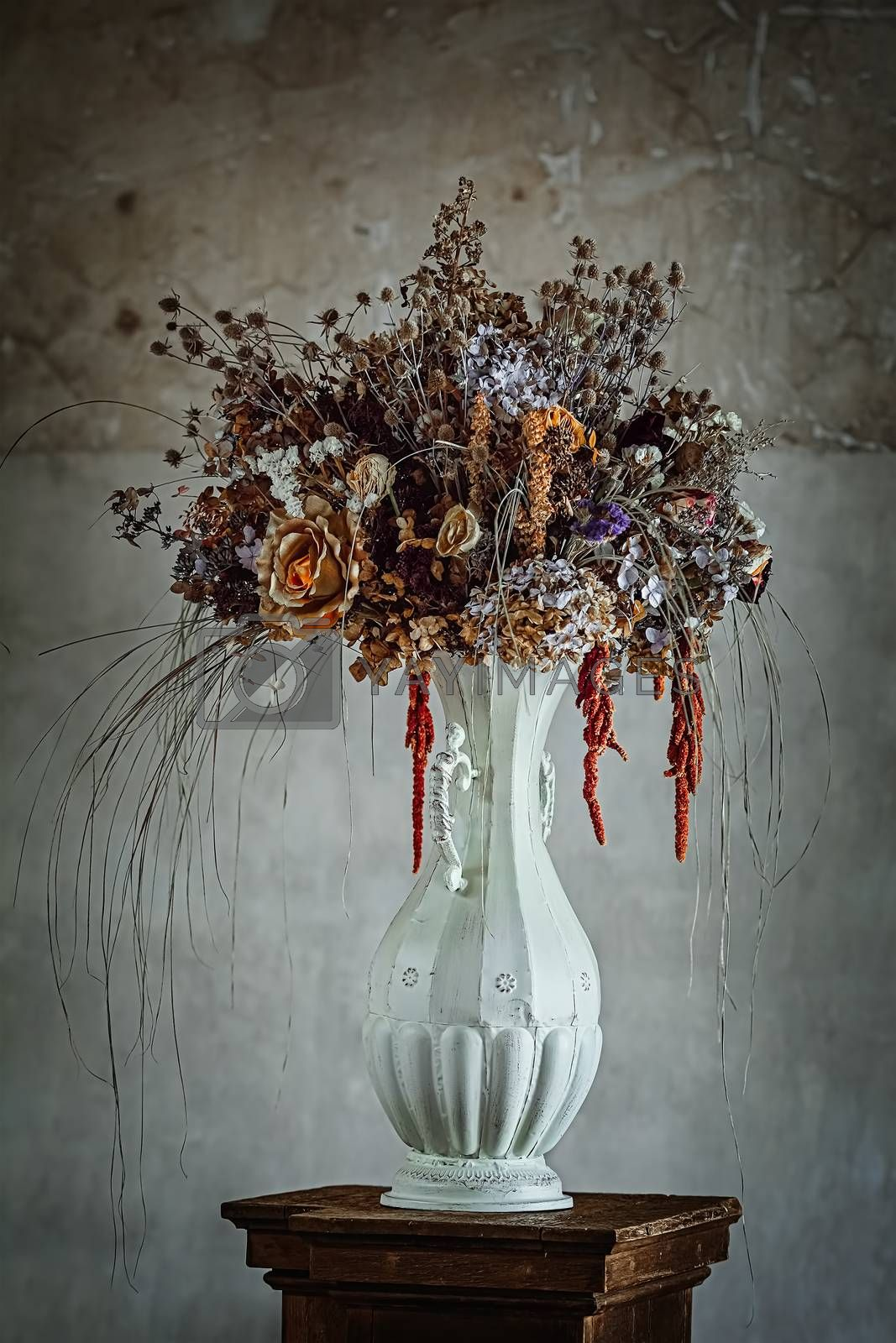 Bouquet of dried flowers in an abandoned palace