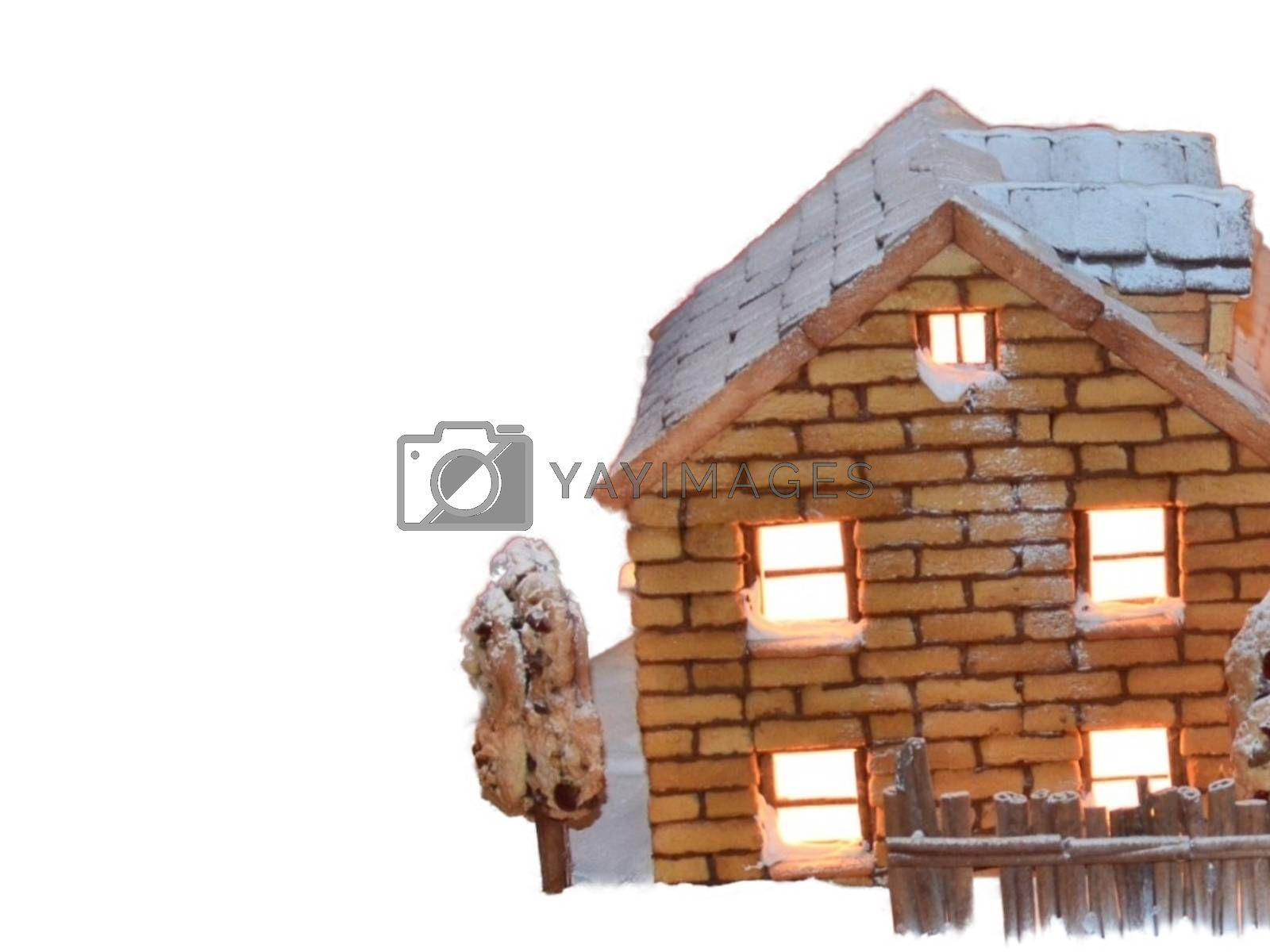 Royalty free image of Nearby illustration from a small brick house with a Christmas atmosphere with a fence by balage941