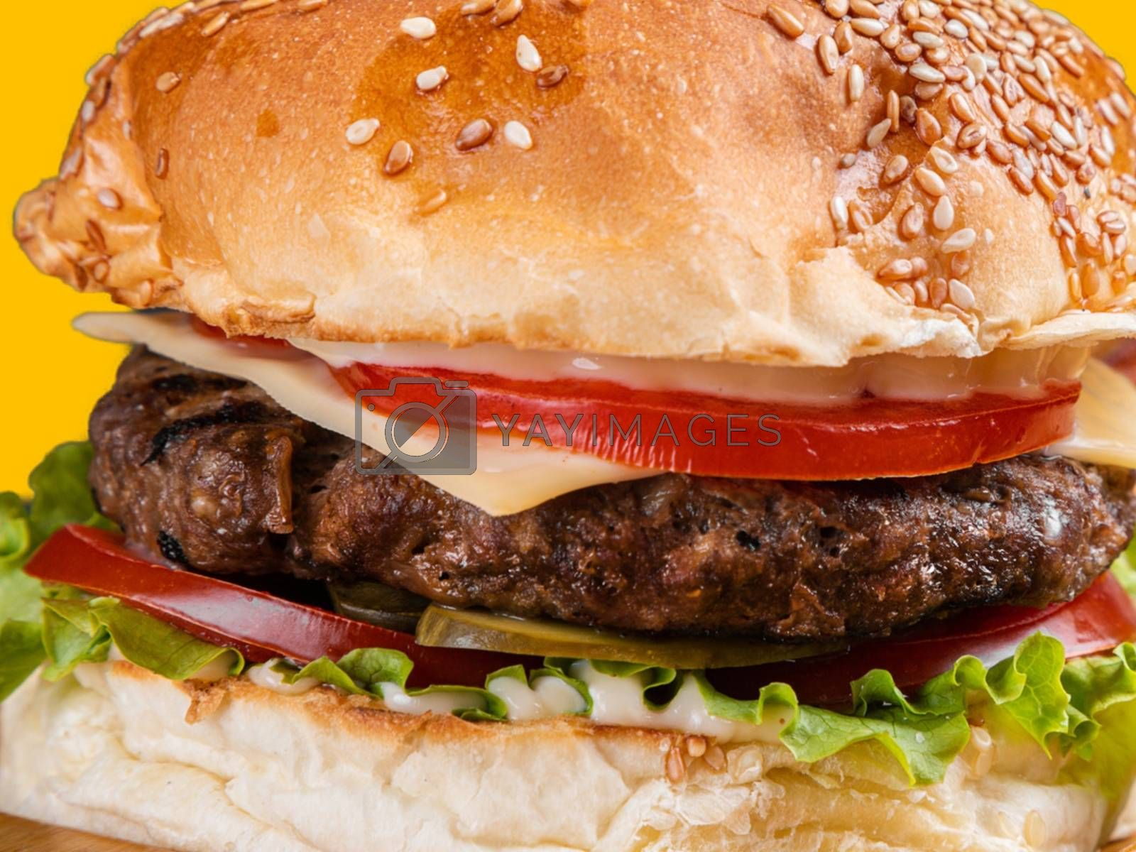 Royalty free image of A close up of a delicious hamburger with beef, cheese, and vegetables by balage941