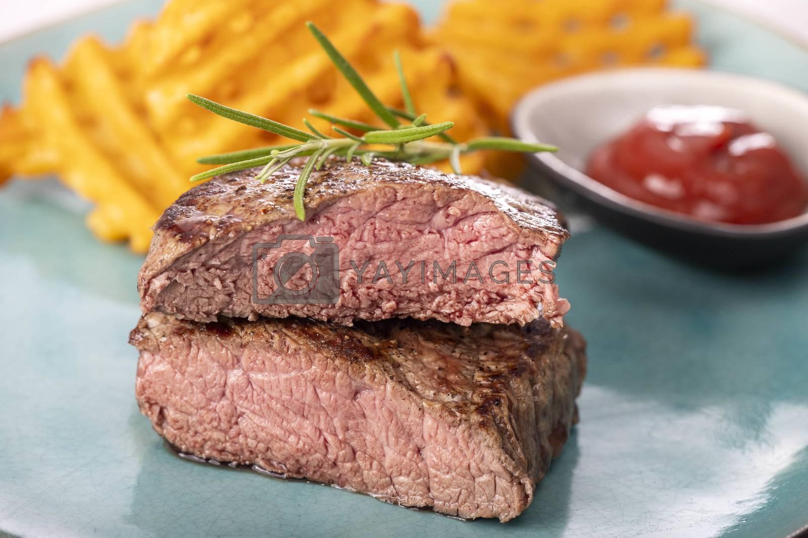 grilled steak with fresh potato lattices