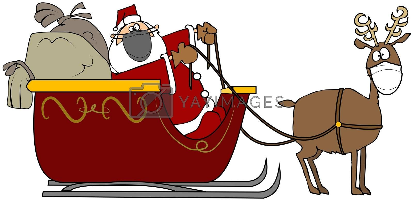 Illustration of Santa Claus in his sleigh filled with gifts being pulled by a single reindeer wearing a face mask.