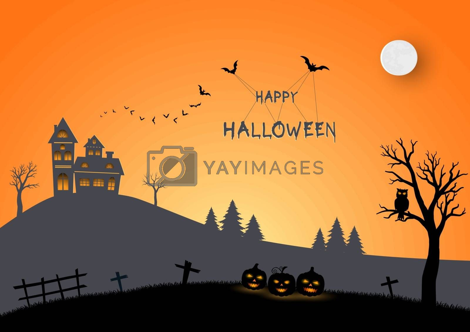 Happy Halloween on paper art and craft style by PIMPAKA
