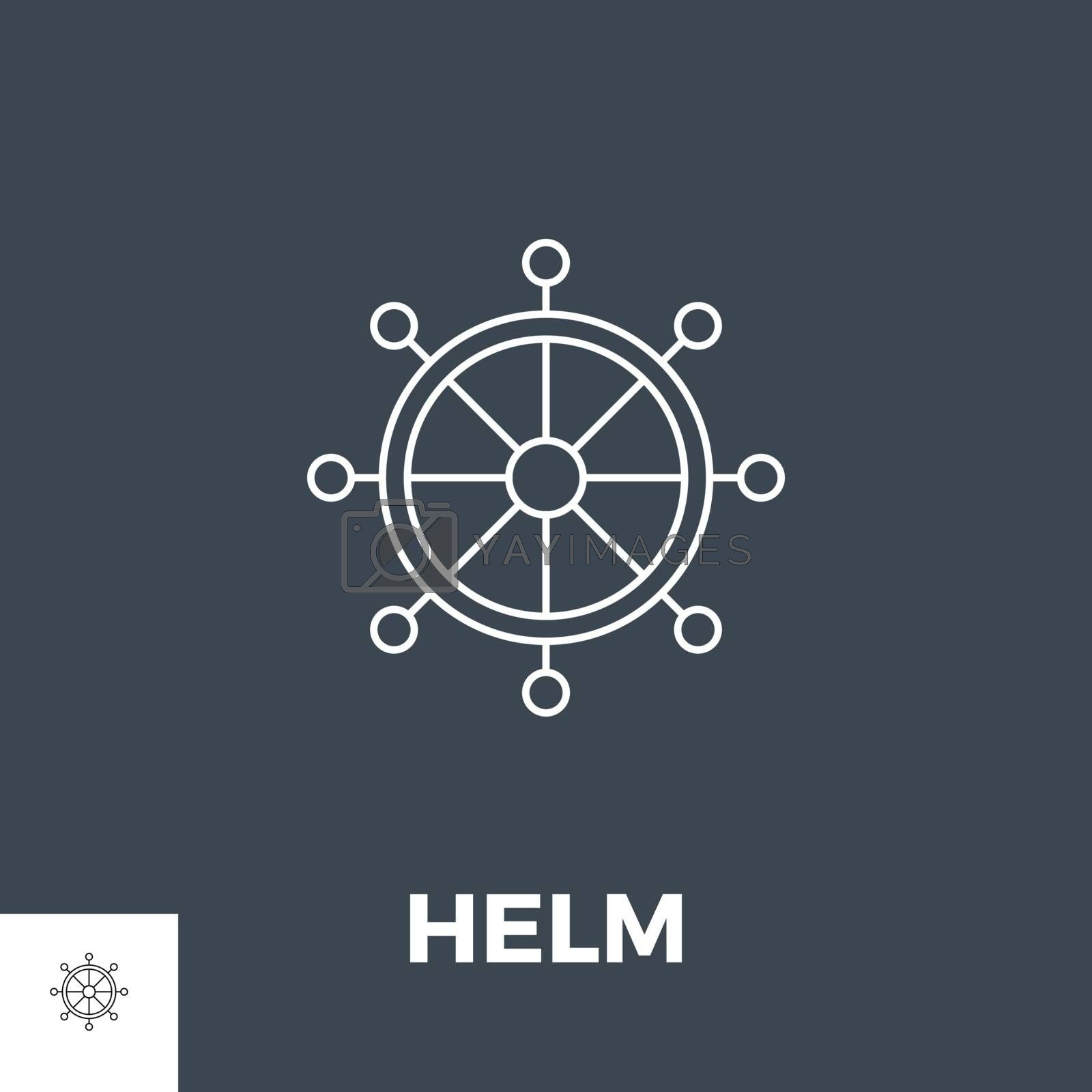 Helm Related Vector Line Icon. Isolated on Black Background.