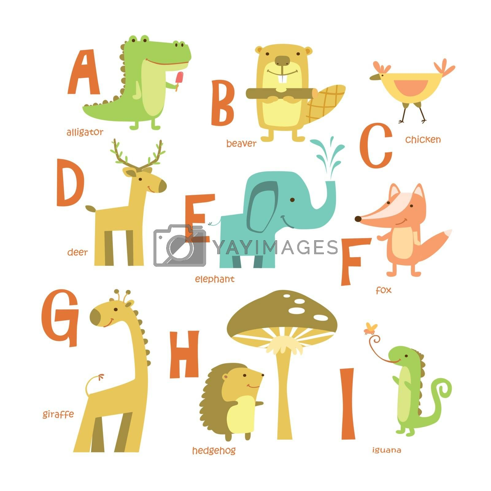 Alphabet and animals. ABC with different animals. Vector illustration.