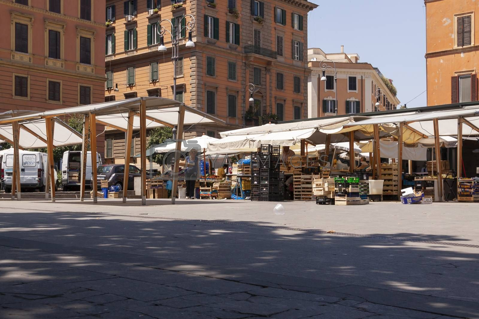 Rome, Italy - June 28, 2010: Closed fruit stalls in a street market in Rome.