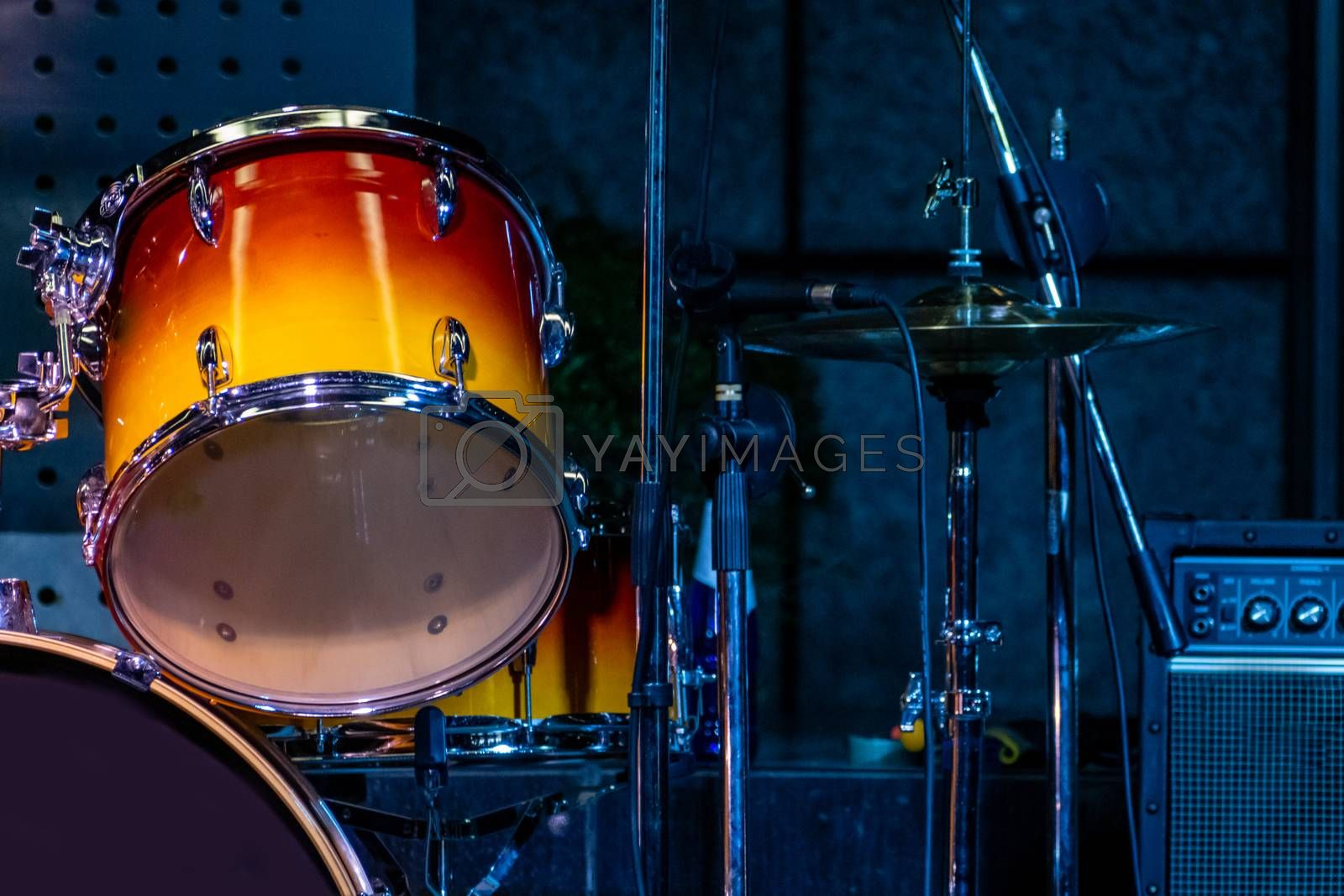 Close-up of drums on stage