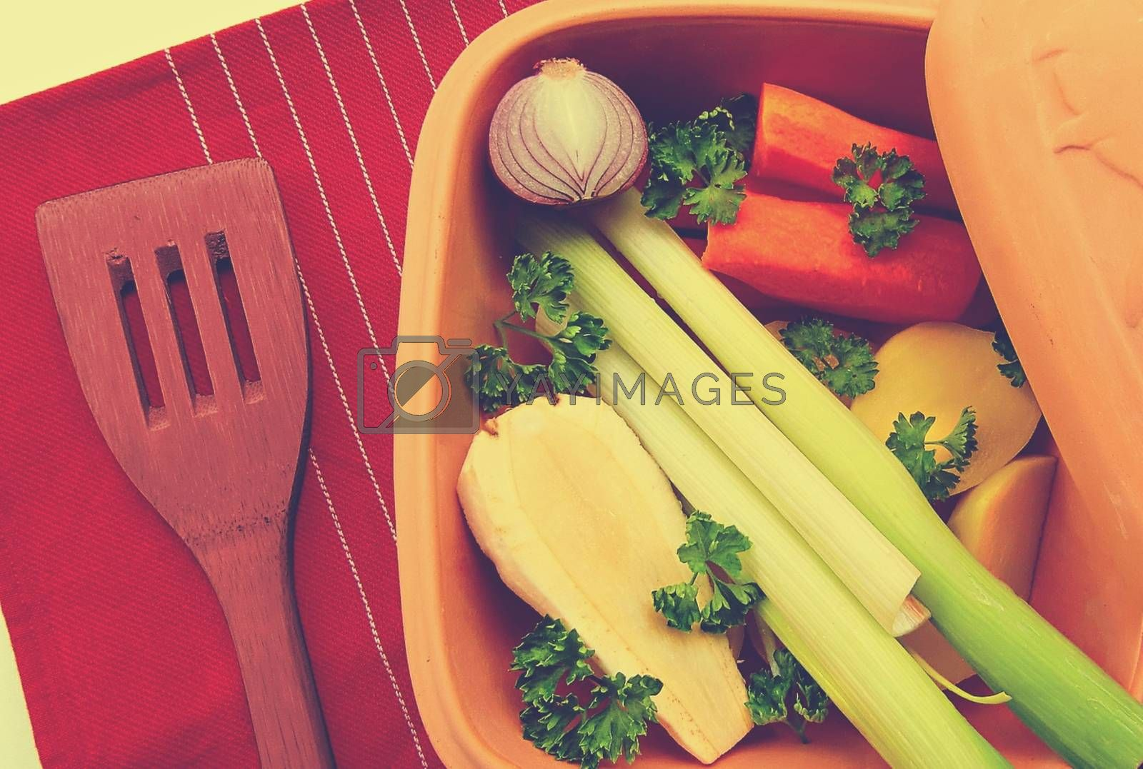 Royalty free image of A plate of vegetables with broccoli, and carrot by balage941